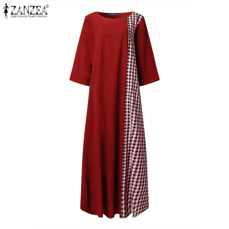 ZANZEA elbise kadınlar Vintage o-boyun Patchwork ekose elbise Vestidos kadın artı boyutu yaz elbiseler gevşek plaj Sundress 5XL