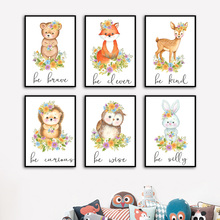 Wall Art Canvas Painting Cute Fox Bear Deer Owl Rabbit Quote Nordic Posters And Prints Cartoon Wall Pictures For Kids Room Decor cartoon cute rabbit bear quote nursery wall art canvas painting nordic posters and prints wall pictures for baby kids room decor