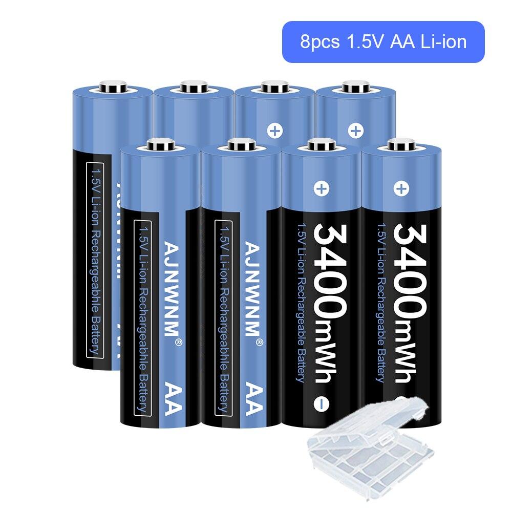 Перезаряжаемая батарейка AA 1,5 в, 1,5 МВт/ч, батарейка AA 1,5 в для контроллера камеры, батарейка AA 1,5 в
