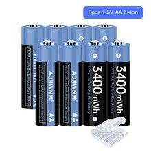 Bateria recarregável aa 1.5v da bateria 3400mwh recarregável de 1.5v aa 1.5v para a bateria recarregável aa 1.5v da câmera do controlador