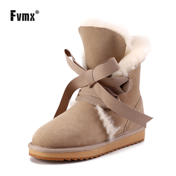 FVMX Fashion Sheepskin Suede Leather Fashion Girls Lace-up Mid-calf Winter Warm Shoes Women Lady Wool Fur Lined Snow Boots Girls 2018 winter warm women white sneaker fashion footwear lace up lady shoes with soft fur lining candy color back