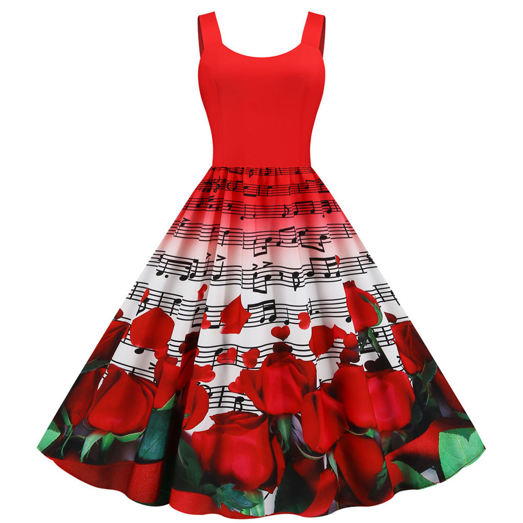 Valentines Day <font><b>Dress</b></font> Women Party <font><b>Red</b></font> Rose Floral Print <font><b>Sexy</b></font> Sleeveless Midi Rockabilly Vintage <font><b>Dress</b></font> Fashion Women Clothes image