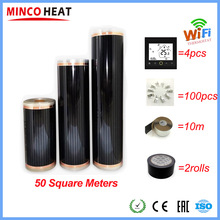 50 Square Meters Electric Floor Heating Mat Infrared Radiant Heat Film Mat with Wifi Room Thermostats Clamps