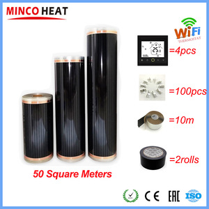 Image 1 - 50 Square Meters Electric Floor Heating Mat Infrared Radiant Heat Film Mat with Wifi Room Thermostats Clamps