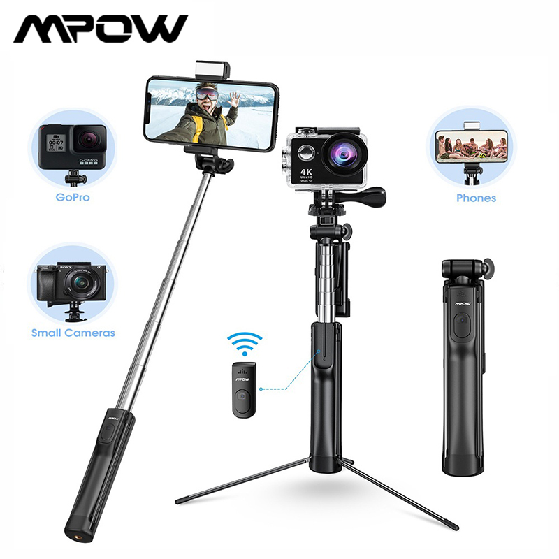 Mpow Multi-functional Selfie Stick Bluetooth Remote Control and Fill Light Extendable Selfie Stick Tripod for GoPro Camera Phone