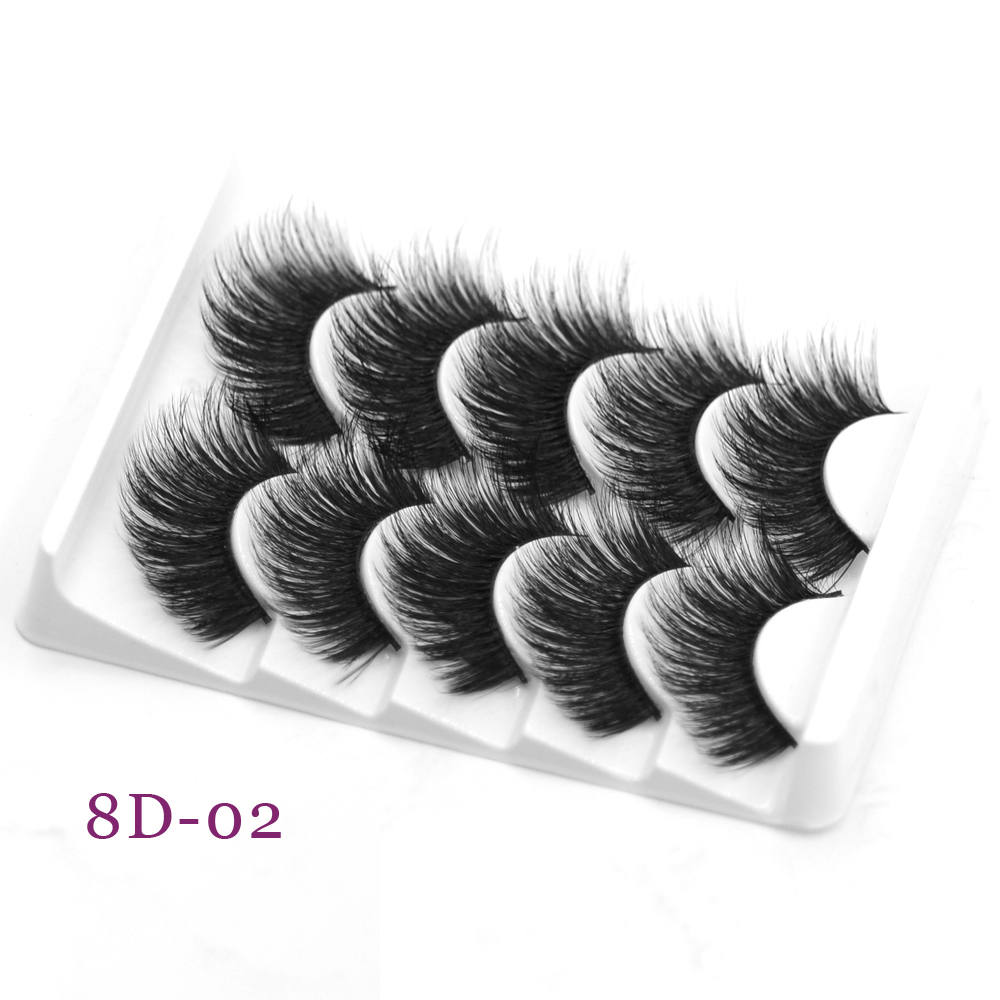 DamePapil Faux Mink Lashes Full Strip Fluffy/Wispy/Thick Eye Lashes Accessories 5 Pairs Set Hand Made Wholesale Makeup Tools