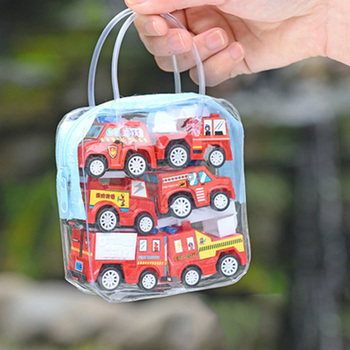6pcs/set Children Mini Pull Back Car Toy Construction Vehicle Fire Truck Model Set Boys Birthday Holiday Gift image