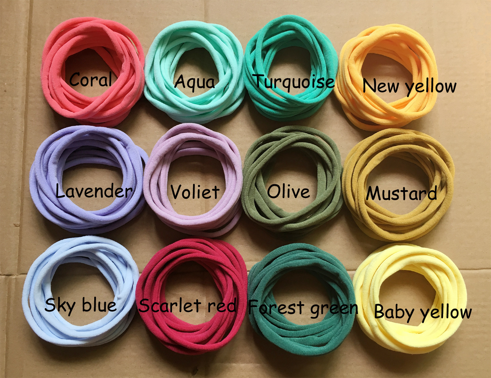 1500 Pcs/lot, New Solid Color Nylon Elastic Headbands Super Soft Stretchy Nylon Headbands, One Size Fits Most