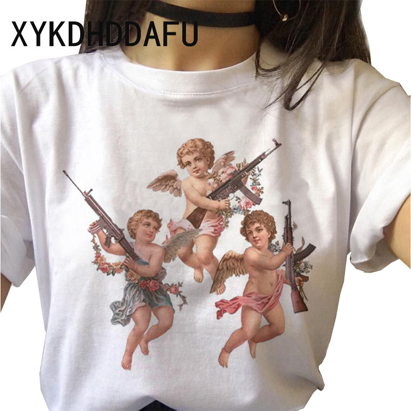 Angel Women T Shirt New 2020 Harajuku Vintage Tshirt Female Aesthetic Kawaii Tumblr Grunge T-shirt Femme Top Tee Fashion Short