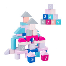Montessori wooden rainbow Toys Baby children building blocks Baby Toys Wooden Blocks Enlightenment educational toy 50Pcs/Set(China)