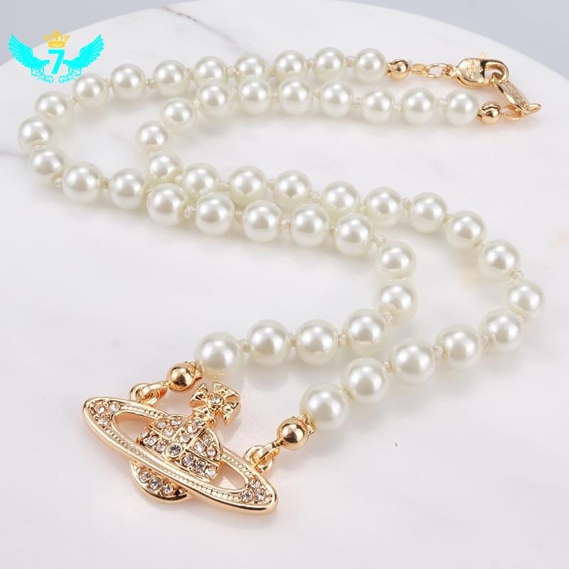 Искусственный жемчуг ожерелье женские свадебные ювелирные кристаллы позолоченная подвеска с Сатурном Воротник Ожерелье