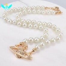 Collier de perles artificielles pour femmes, bijoux de mariage, cristal plaqué or, pendentif saturne