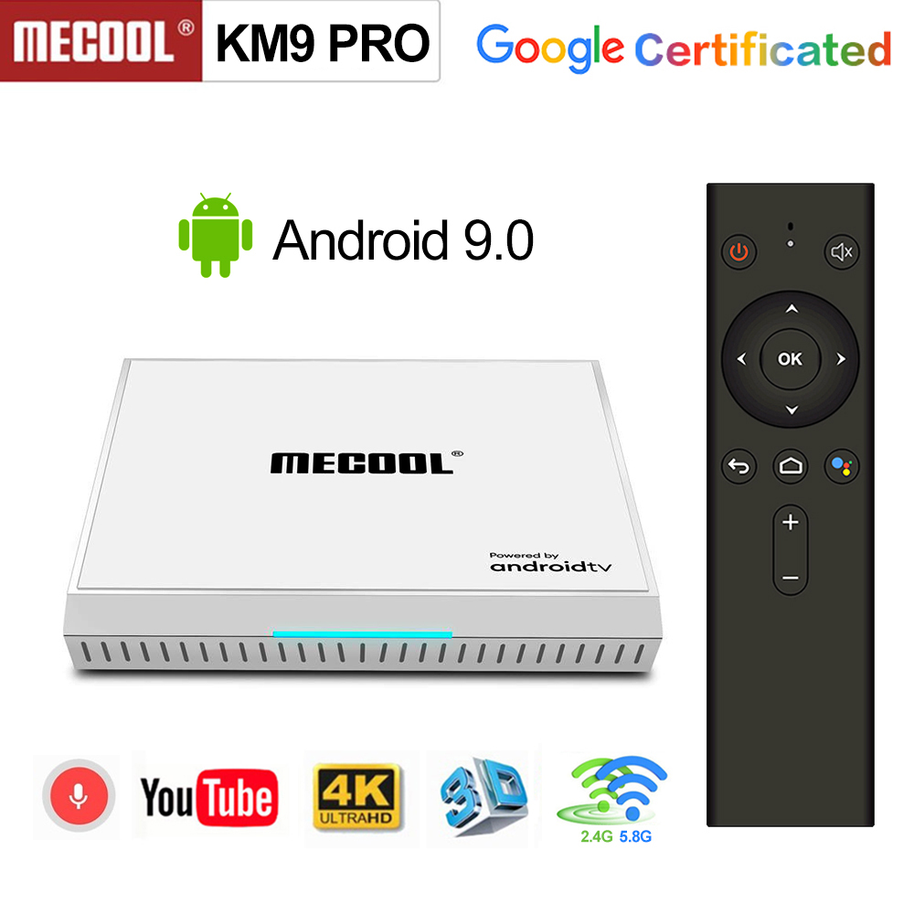 2020 Androidtv 9.0 Google Certified KM9 PRO 4GB 32GB Android 9.0 TV Box Amlogic S905X2 Support Youtube 4K Dual Wifi Set T Op Box