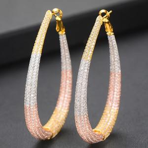 Image 3 - GODKI Brand 2019 Luxury Cubic Zircon Round Circle Big Hoop Earrings For Women Charms Wedding DUBAI Bridal Statement Earrings