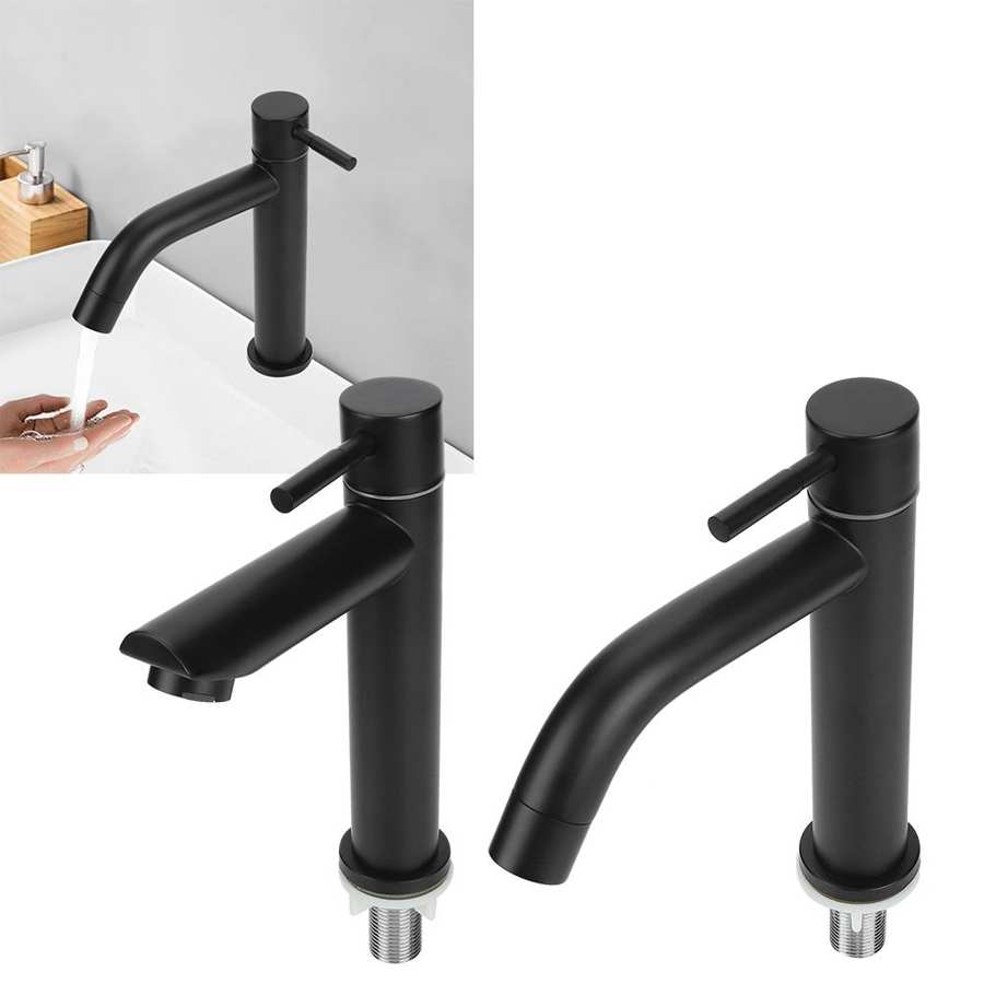 G1 2in Black Kitchen Sink Faucet Stainless Steel Washbasin Faucets Single Cold Water Tap for Kitchen G1/2in Black Kitchen Sink Faucet Stainless Steel Washbasin Faucets Single Cold Water Tap for Kitchen Bathroom basin water taps