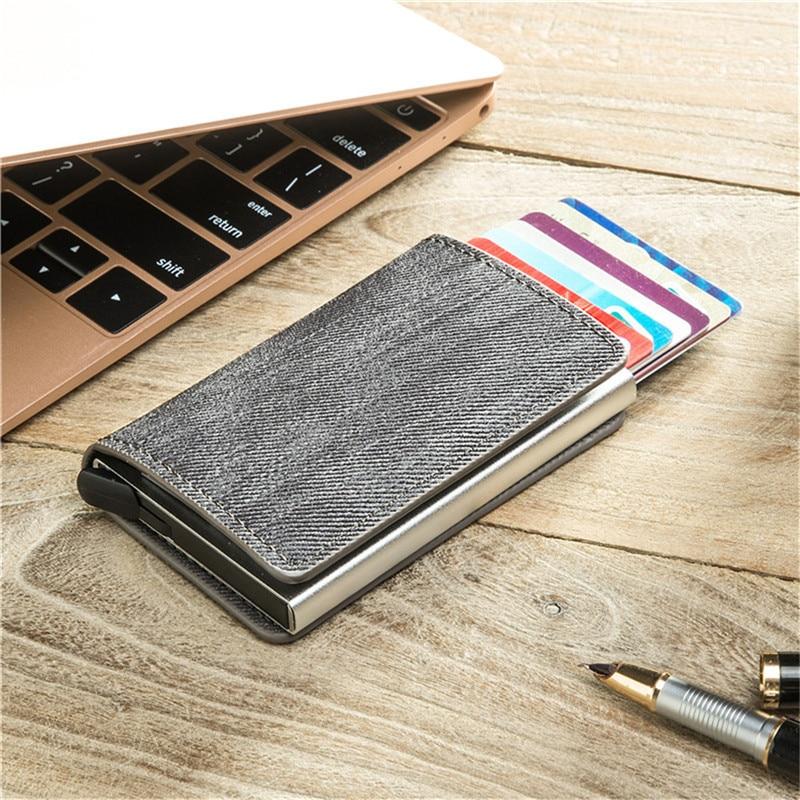 BISI GORO 2020 New Smart Wallet RFID Blocking Credit Card Holder Vintage Card Wallets Protector Money Bag Cartera Mujer Colores