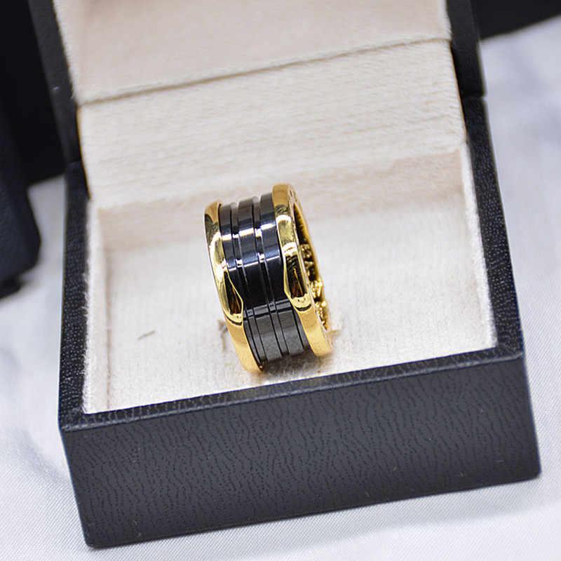 แบรนด์ร้อนสีขาวเซรามิคสีดำแหวนผู้ชายไทเทเนียมฤดูใบไม้ผลิแบบจำลองเครื่องประดับสำหรับคู่ 5- 12