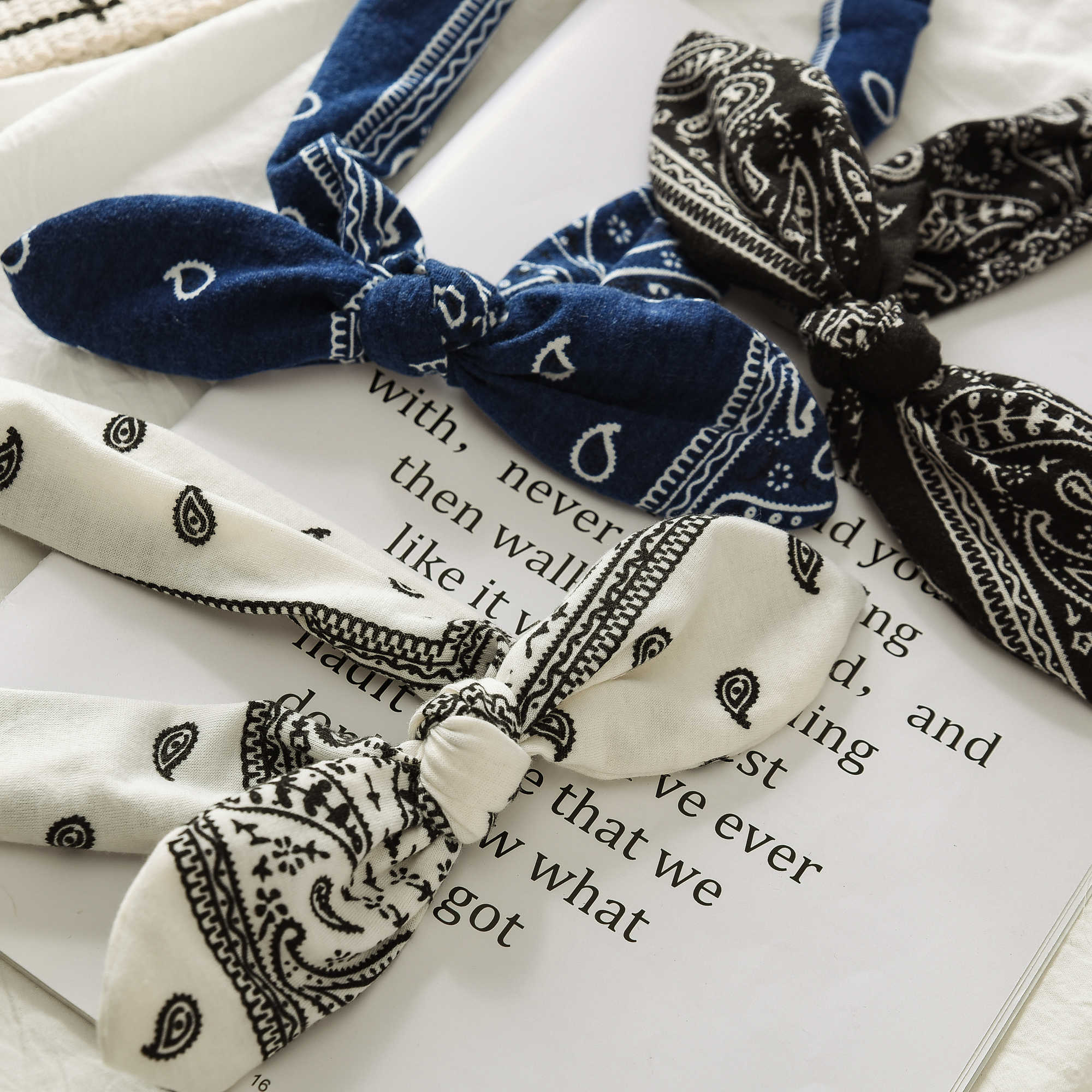 Floral Print Rabbit Ear Knotted Elastic Hoop Hair Band Fashion Steel Wire Fixed Headbands Boho Women Headwear Ornaments