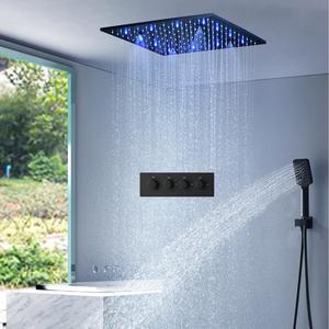 Черный набор для душа 16 дюймов/20Inchs SPA Mist душ с дождевой насадкой для ванной комнаты термостатический смеситель светодиоды для потолка в душ...