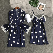 Robe Nightwear Gown-Sets Sleepwear Lace Satin Silk Home-Clothes Sexy Women's for Cosy