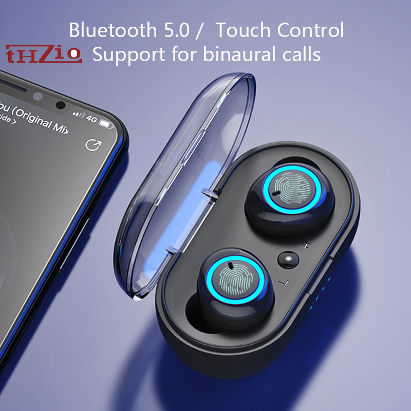 THZIO TWS HiFi Bluetooth Earphone Bass Wireless Earphone Touch Handsfree Sport In Ear Earphone Gaming Headset With Mic For Xiomi