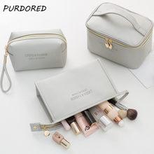 PURDORED 1 Pc duże kobiety kosmetyczka PU skóra wodoodporny zamek makijaż torba podróż mycie organizator na przybory do makijażu kosmetyczka