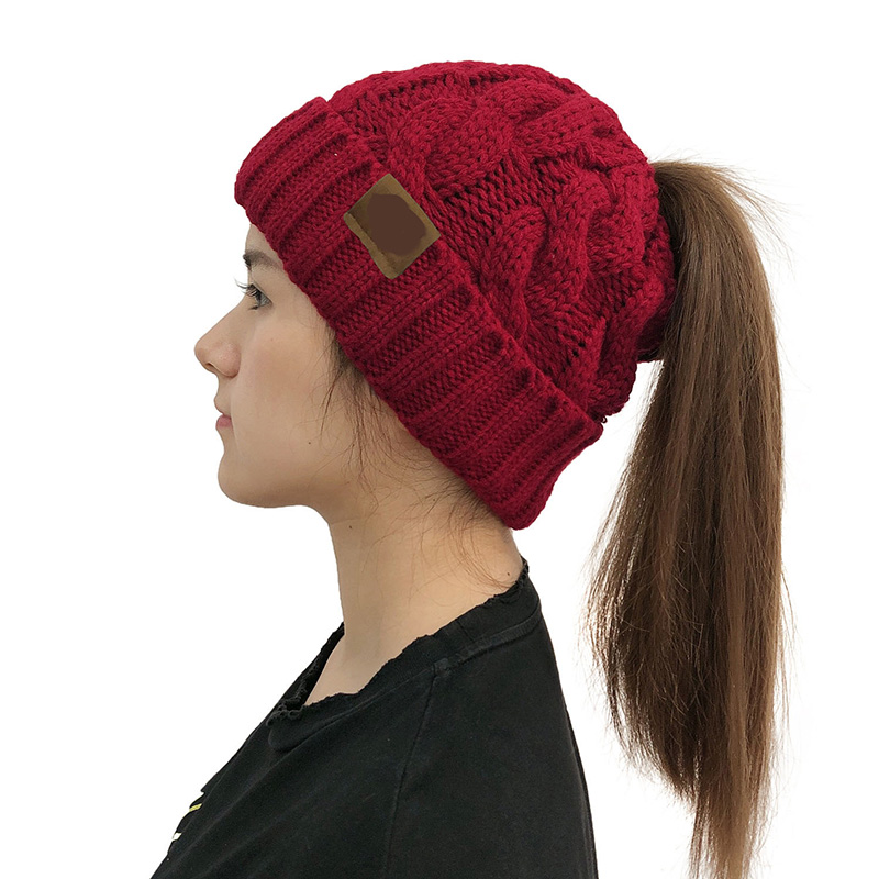 Women Fashion Soft Warm Ponytail Cc Skullies Beanies Knitted Hat Female Beanie For Girls Solid Colr  Casual Winter Beanies Cap