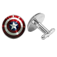 Hot! 2019 Super New Movie Surrounding US Captain Shield Cufflinks Glass Convex Silver Mens Gift Jewelry