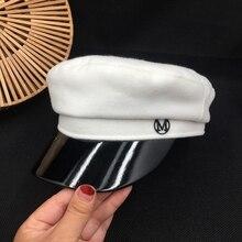 Acerca de la nueva gorra de lana moda calle joker gorro de marinero de cuero blanco cap estudiantes visores de ocio gorra de marinero