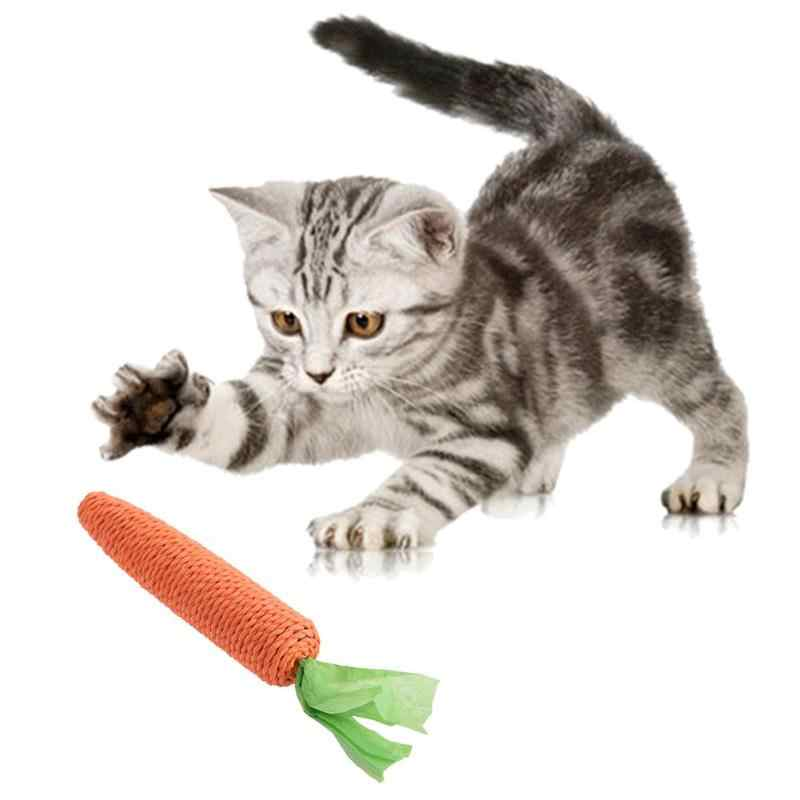 1pc 애완 동물 고양이 장난감 대마 밧줄 문자열 당근 씹는 무 장난감 물린 씹는 게시물 당근 장난감을 긁적