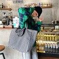 Холщовые дамские сумочки в шотландскую клетку, винтажный вместительный большой тоут, повседневная двусторонняя сумка на ремне