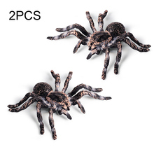 2pcs Artificial Spider Halloween Decoration Simulated Model Realistic Plastic Figurines Kids Educational Toy