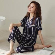 New Luxury Fashion Pajama Sets For Women 2 Pcs Short Sleeve Long Pants Silk Pajamas Comfort Night Sleepwear Home Clothes