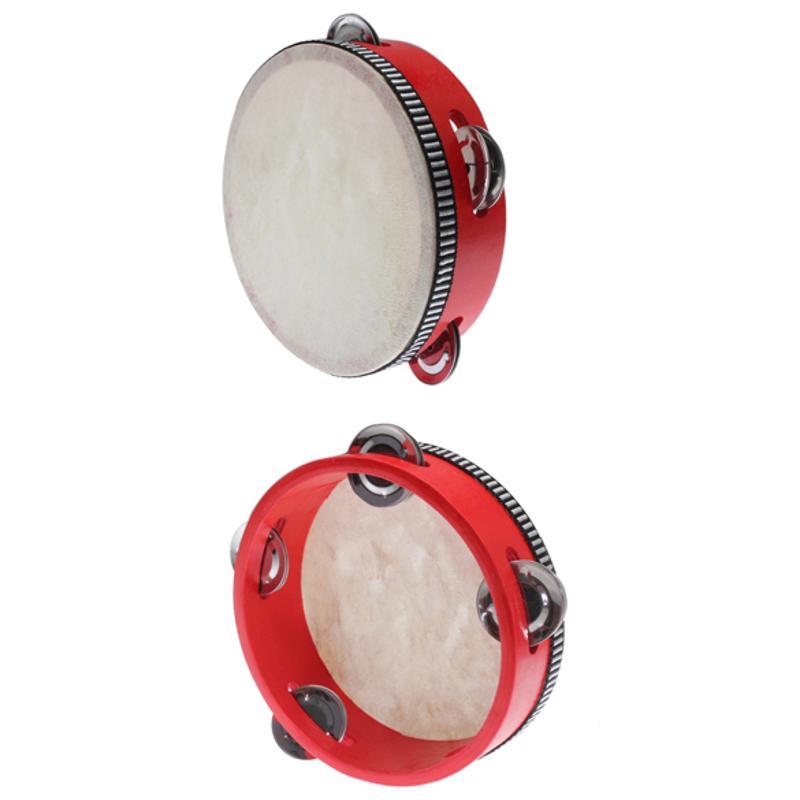 Educational Toy Musical Tambourine Beat Instrument Hand Drum Childrens Kids Wood Baby Musical Drum Beat Hand Drum Red