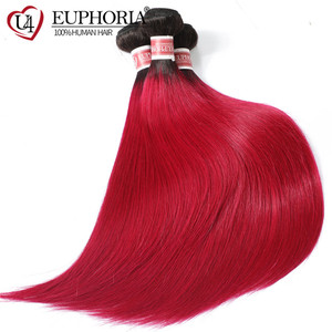 Image 5 - Ombre Color Straight Hair 3 Bundles 1B Burgundy 99J Red Color Brazilian Non Remy Human Hair Weaving 1/3/4 Pcs Bundles Euphoria