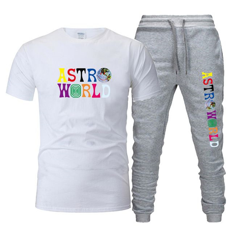 2020Casual Male Tracksuit Clothing Summer Men Set Fitness Suit Sporting Suits Short Sleeve T Shirt + pants 2 Piece Set
