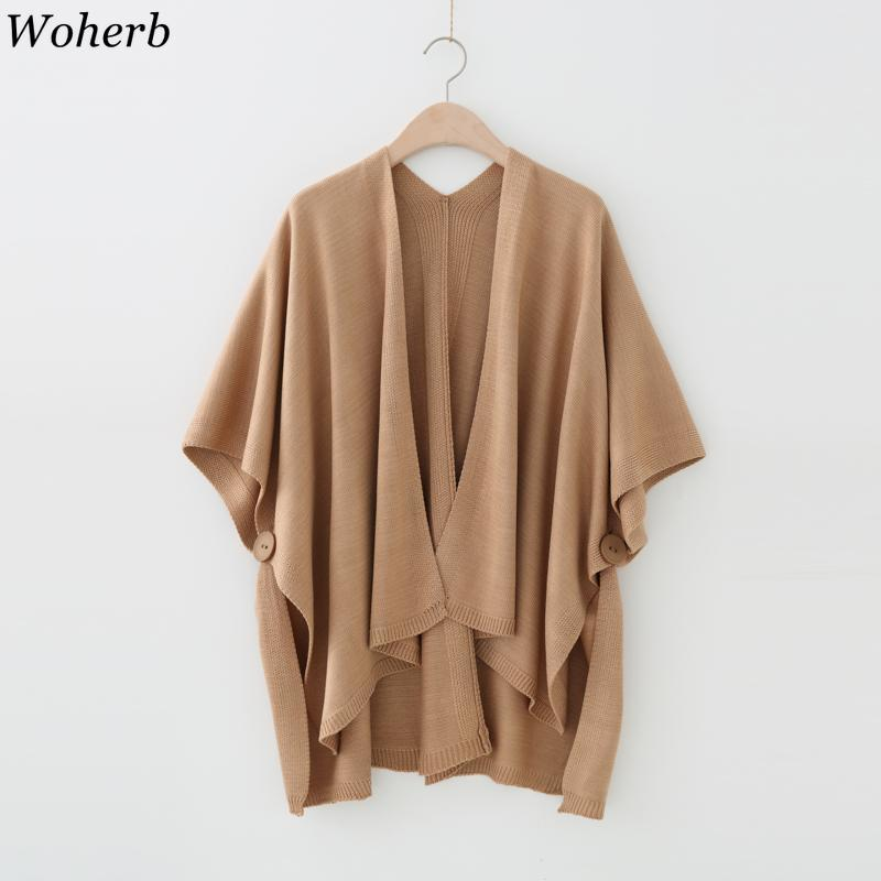 Woherb 22 Colors Cloak Shawl Button Elegant Knitting Cardigan Women Casual Solid Sweater Cape Autumn Poncho Loose Knitted Jumper