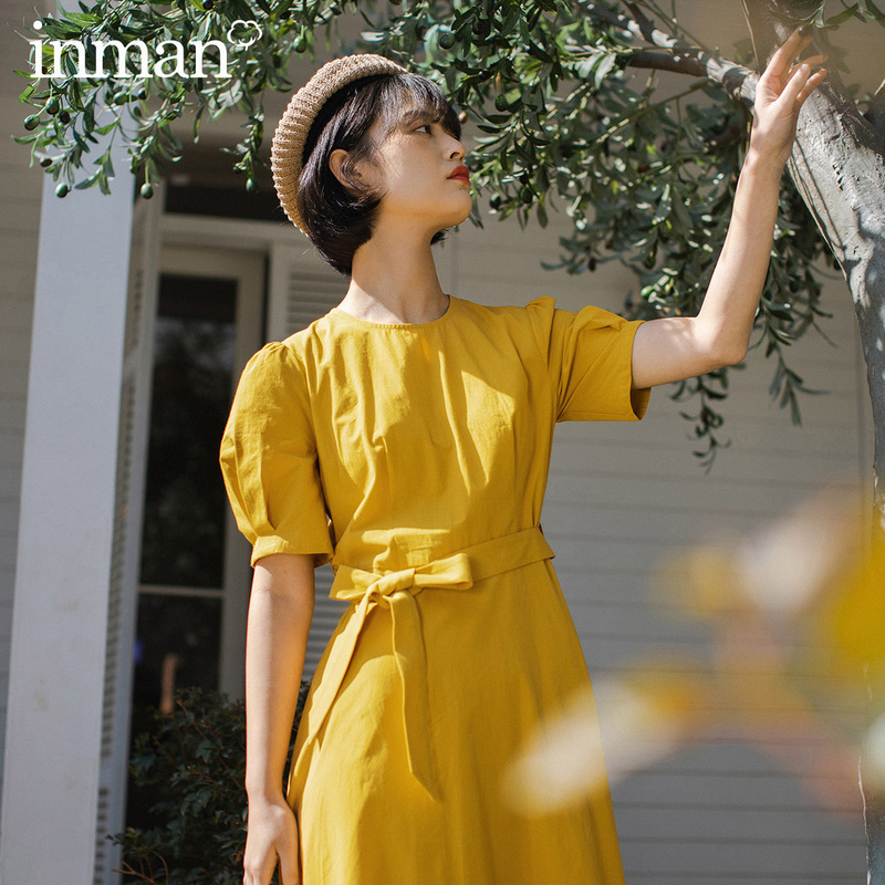 INMAN 2020 Spring New Arrival Literary Retro Elegant Bowknot Nipped Waist Short Sleeve Dress