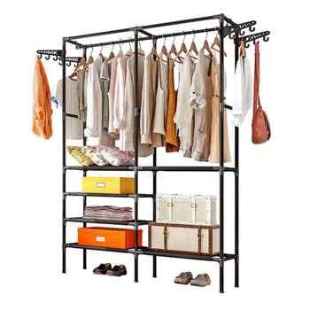 RU Ship Closet System Storage Garment Rack Heavy Duty Organizer Clothes Hanger Dry Shelf
