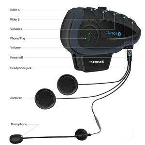 Image 4 - 2 pièces VNETPHONE V8 SV interphone sans télécommande 5 voies groupe parler Bluetooth casque de moto casque FM NFC 1.2KM