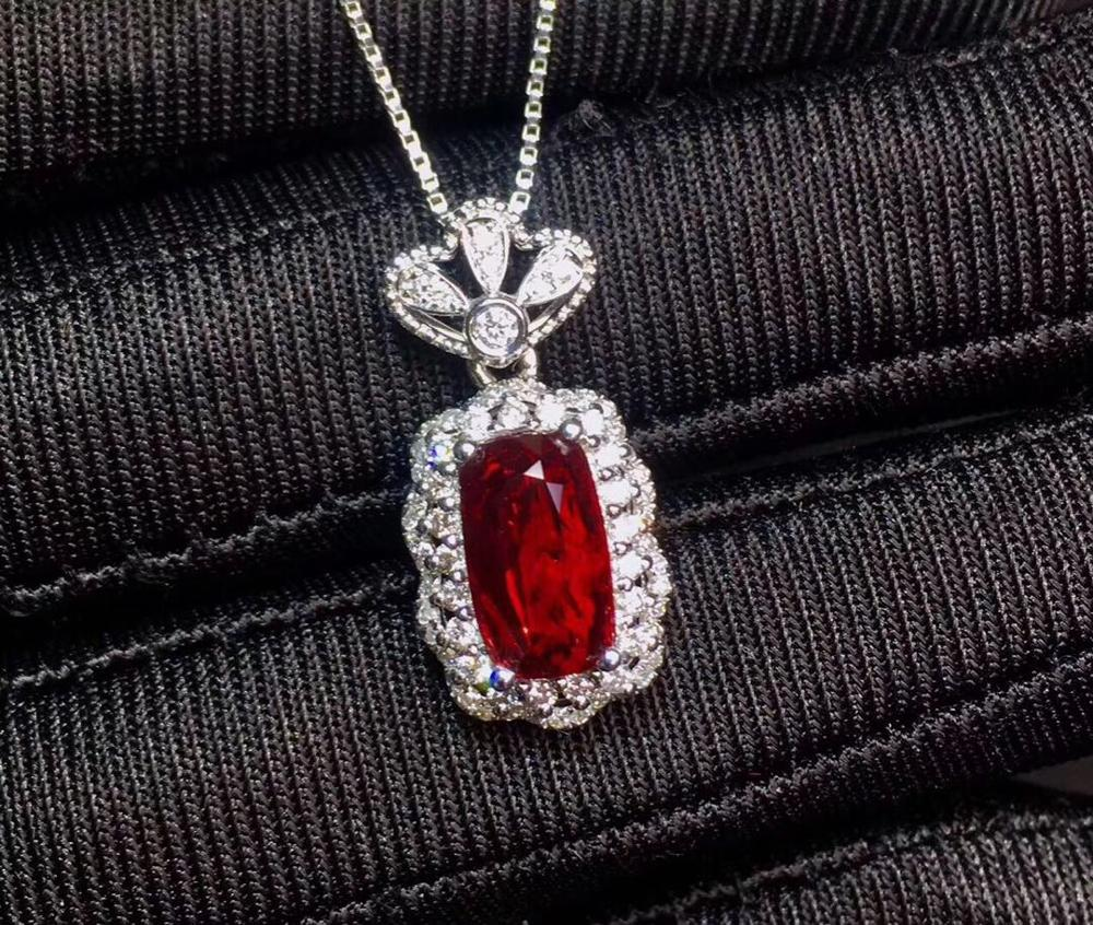 AIGS Ruby Pendant Fine Jewelry Real 18K  Gold 100% Natural Red Ruby Gemstones 2.03ct Diamonds Cross Fine Chic Pendant Necklace