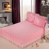 39 Quilted Luxury Pink/Red Flower Lace edge Wedding decoration Bed skirt for Girls King/Queen/Full size Bedspread set