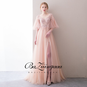 BAZIIINGAAA Luxurious and Elegant Lace Beaded Evening Dress Lotus Leaf Sleeves V-neck Criss-Cross Design Evening Dress Long Size purple lace design v neck long sleeves self tie waist pajamas