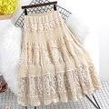 Женская ажурная юбка средней длины, однотонная приталенная юбка с поясом на резинке, весна-лето 2021