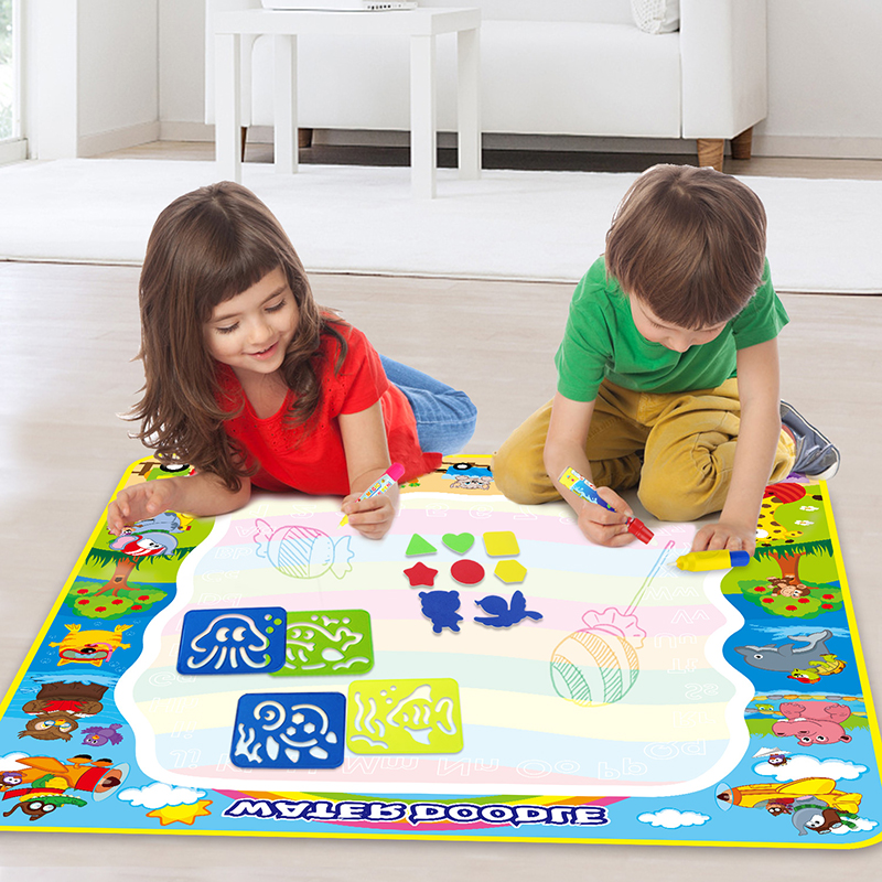 100x100cm Large Size Water Doodle Mat With Drawing Pens Brush Tools Cute Animals Reusable Carpet Magic Board Kids Painting Toys