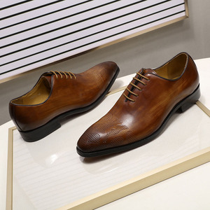 Image 3 - ยี่ห้ออิตาเลี่ยนMens Oxfordรองเท้าผู้ชายรองเท้าหนังทำด้วยมือสีน้ำตาลLACE Upงานแต่งงานอย่างเป็นทางการรองเท้า