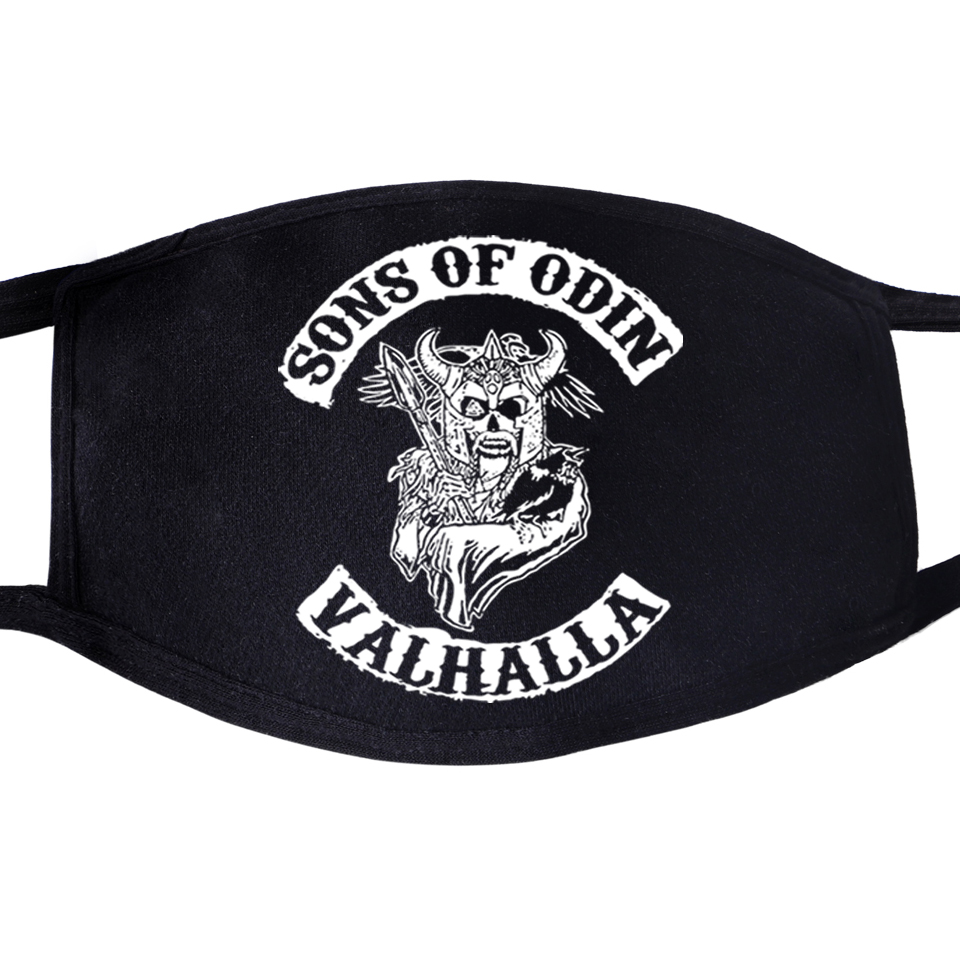 Odin Vikings Son Of Odin Athelstan Valhalla Face Mask Mouth Fabric Anti Dust Unisex 2020 Black Dustproof  Cover Masks