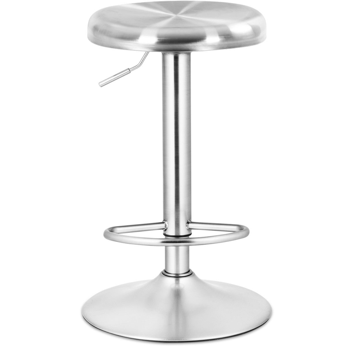 Costway Brushed Stainless Steel Swivel Bar Stool Seat Adjustable Height Round Top Silver