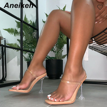 Aneikeh Fashion 2020 PVC Sandals Crystal Open Toed High Heels Women Transparent Heel Sandals Slippers Pumps 9.5CM Big Size 41 42