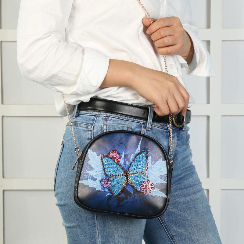 Купить с кэшбэком DIY Special Shaped Diamond Painting Wallet Diamond Painting Blue Butterfly